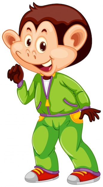 A monkey with sweatsuit Free Vector