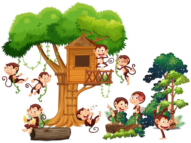 Monkeys playing and climbing up the treehouse Free Vector