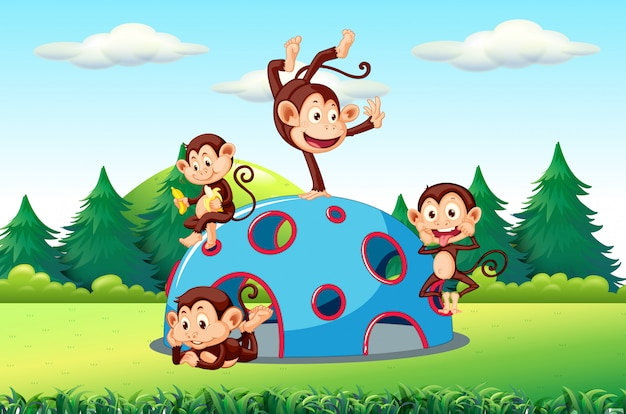 Monkeys playing on playground Free Vector