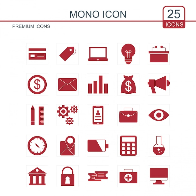 Mono icons set Free Vector