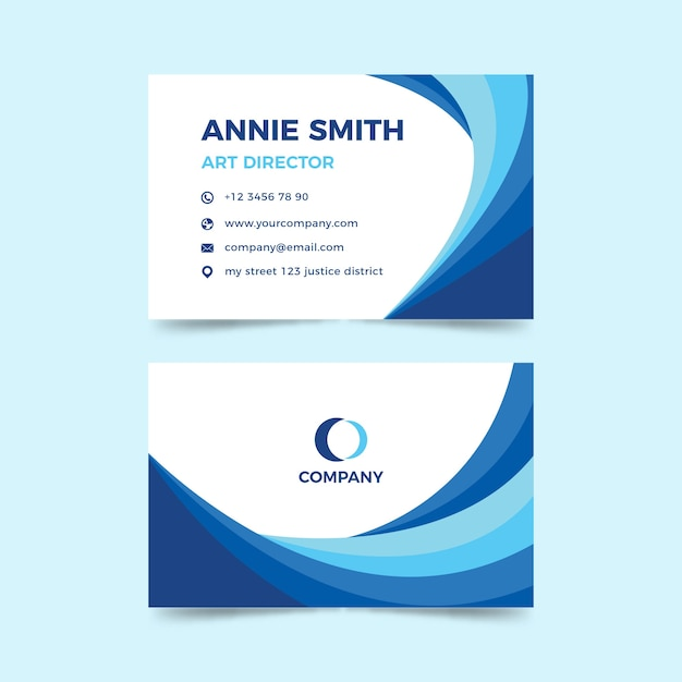 Monochromatic abstract business card template Free Vector