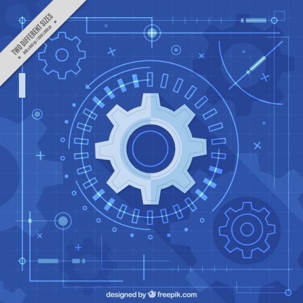 Monochromatic background with gears and lines Free Vector