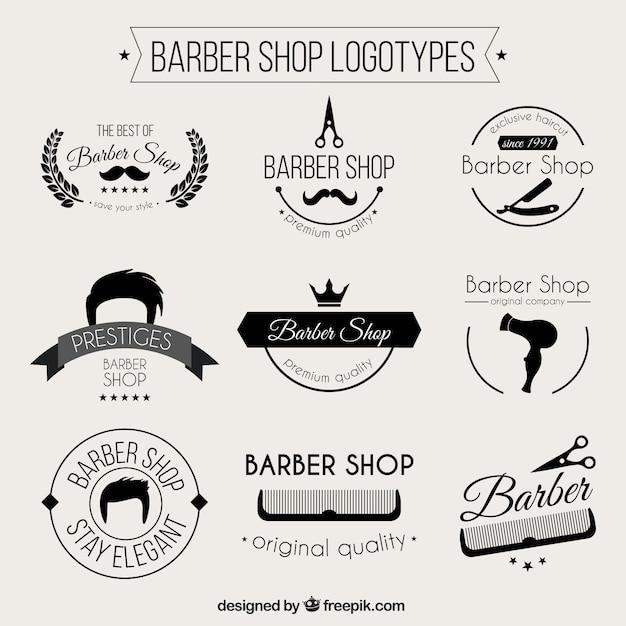Monochromatic barber shop logos Free Vector