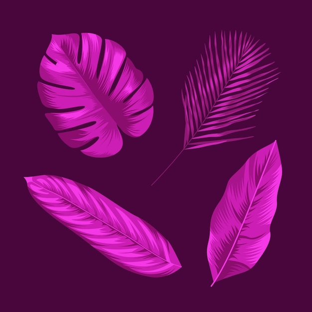 Foglie tropicali design monocromatico Vettore gratuito