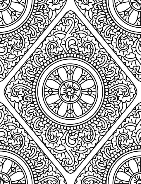Monochromatic ethnic seamless pattern Premium Vector