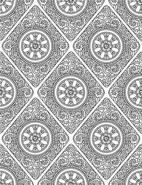 Monochromatic ethnic seamless pattern Premium Vector