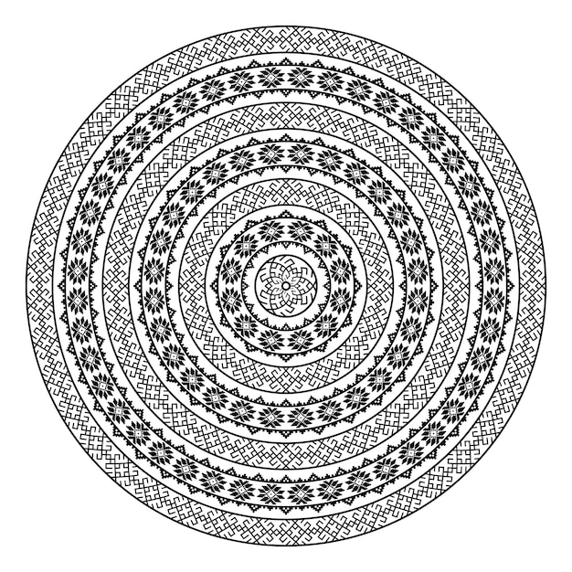 Monochromatic ethnic seamless textures. round ornamental vector shape isolated on white. oriental arabesque pattern background. vector illustration in black and white colors. Premium Vector