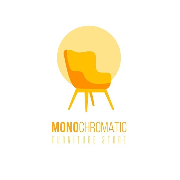 店舗用椅子付き単色家具ロゴ 無料ベクター
