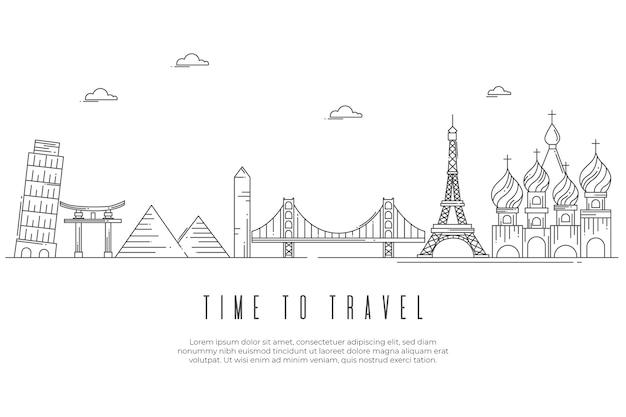 Monochromatic landmarks skyline outline design Free Vector