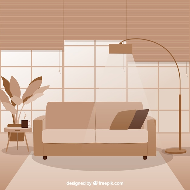 Monochromatic Modern Living Room Vector Free Download