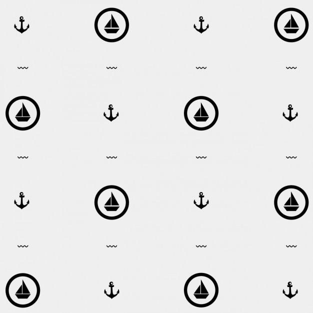 Monochromatic nautical pattern Free Vector