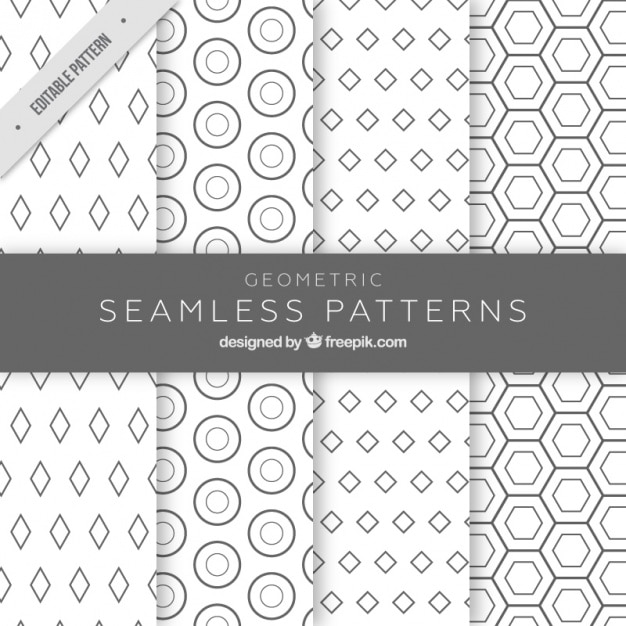 Monochromatic patterns with geometric figures Free Vector