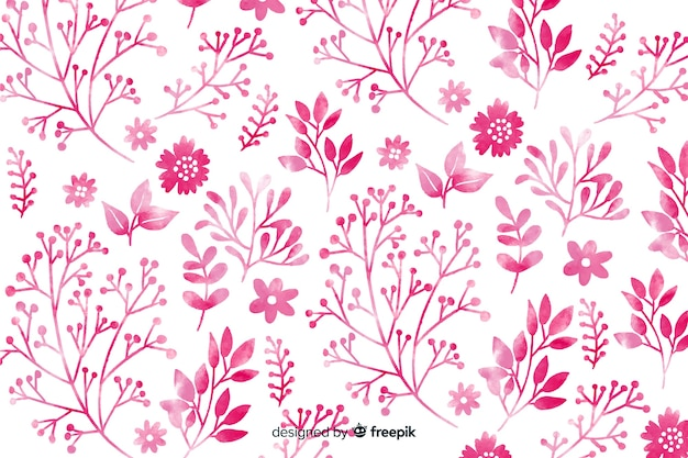 Монохромные розовые акварельные цветы фон Бесплатные векторы