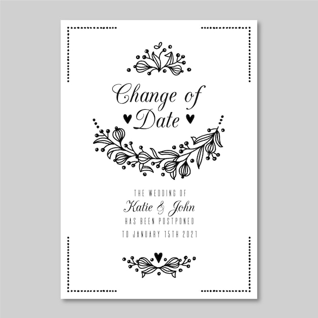 Monochromatic postponed wedding card Premium Vector
