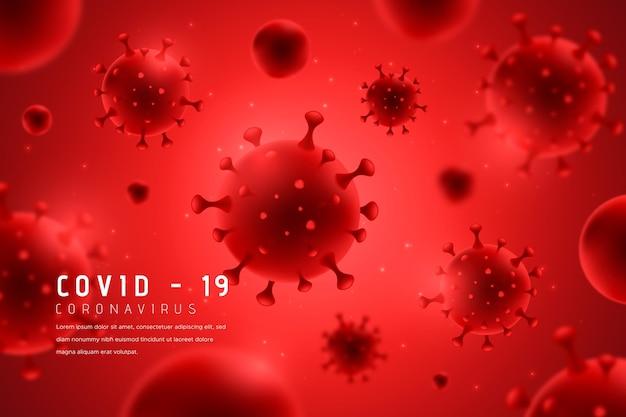 Monochromatic red coronavirus background Free Vector