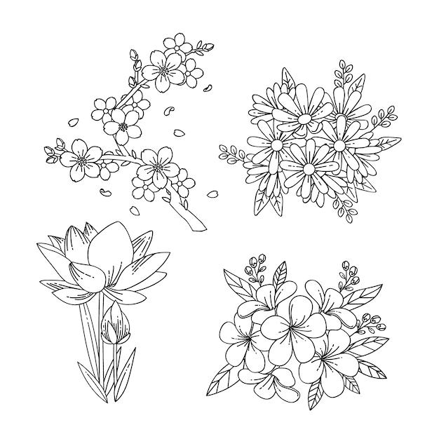 Collezione di fiori primaverili monocromatici Vettore gratuito