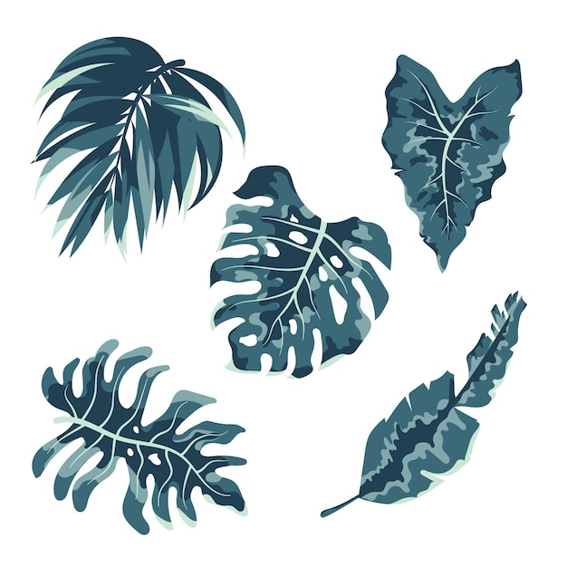 Monochromatic tropical leaves collection Free Vector