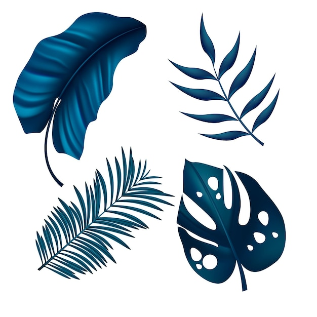 Monochromatic tropical leaves Free Vector