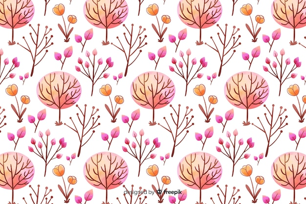 Monochromatic watercolour flowers background in pink shades Free Vector