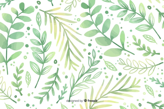 Monochromatic watercolour green flowers background Free Vector