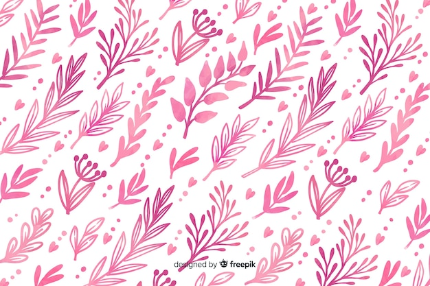 Monochromatic watercolour pink flowers background Free Vector