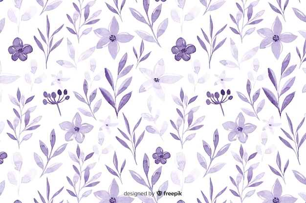 Monochromatic watercolour violet flowers background Free Vector