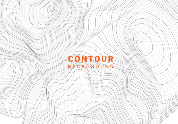 Monochrome abstract contour line illustration Free Vector