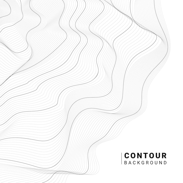 Monochrome abstract contour lines collection Free Vector