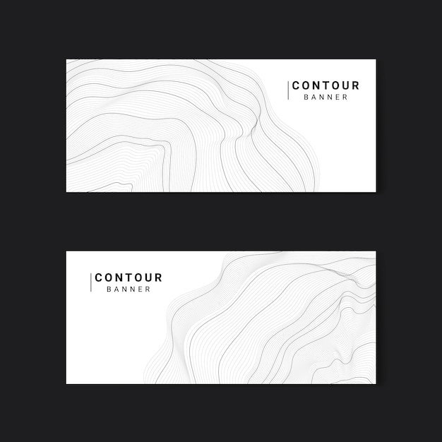 Monochrome abstract contour lines set Free Vector