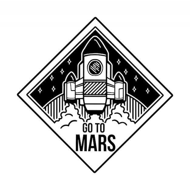 Monochrome badge design with cartoon spaceship which fly to the mars. Premium Vector