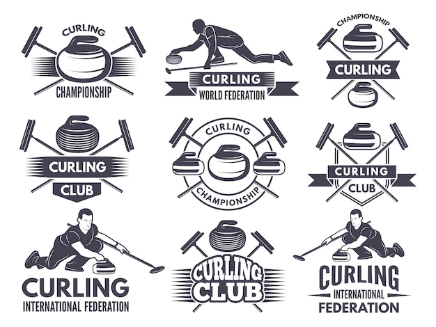 Monochrome badges of curling. labels for sport teams Premium Vector