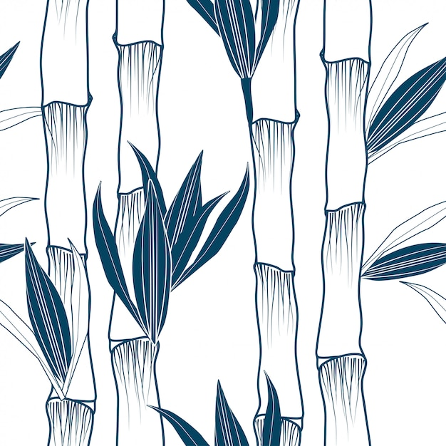 Monochrome bamboo tree vertical seamless pattern Premium Vector