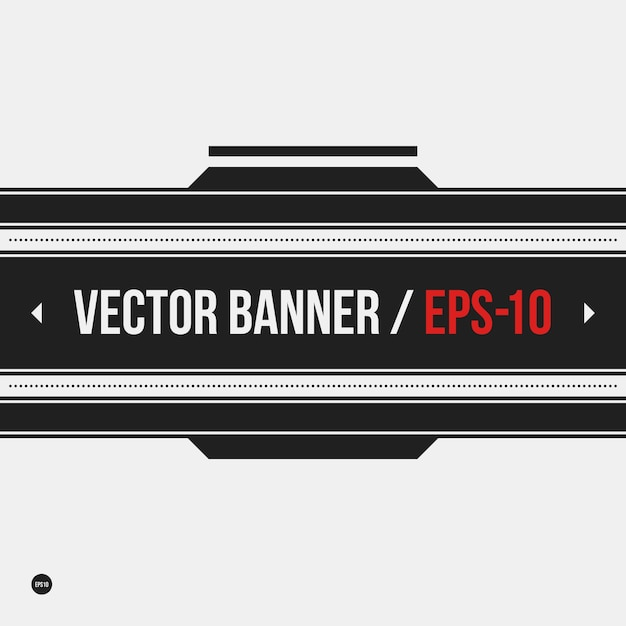 Monochrome banner template in strict style. Useful for presentations and web design. Premium Vector