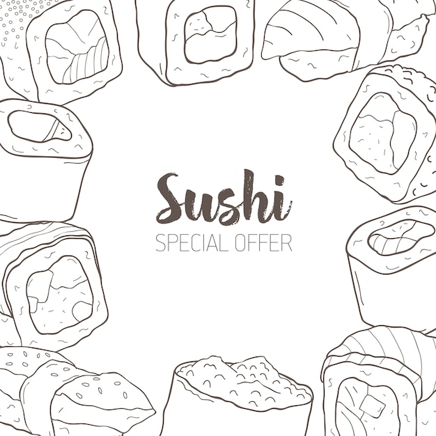 Monochrome banner with frame consisted of different types of japanese sushi and rolls hand drawn with contour lines. Premium Vector