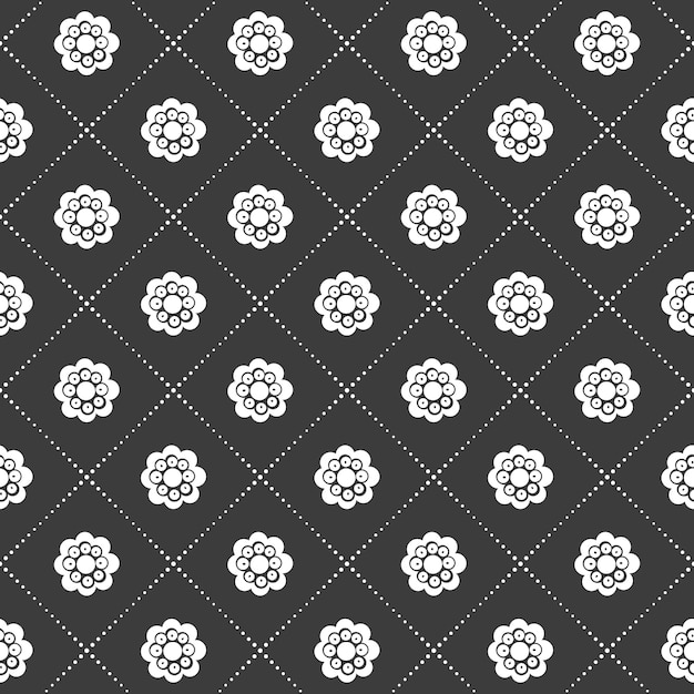 モノクロの黒と白のシームレスな花とグリッドパターン 無料ベクター