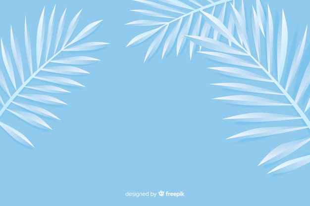 Monochrome blue leaves background in paper style Free Vector