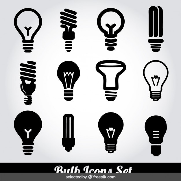 Monochrome bulb icons set Free Vector