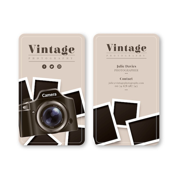 Monochrome business card for photography Free Vector