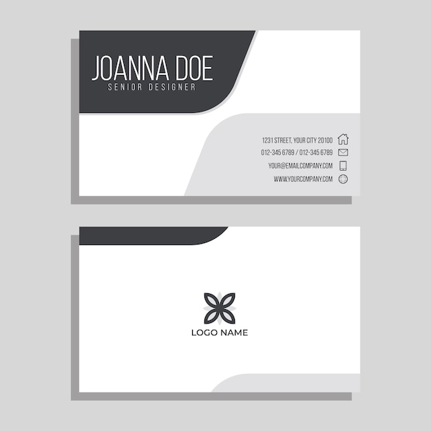 Monochrome business card template Free Vector
