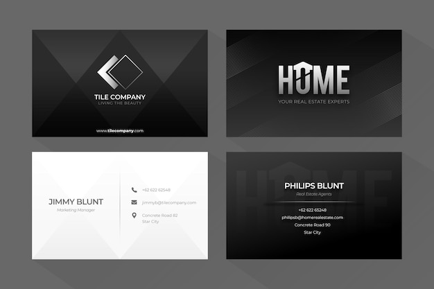 Monochrome business cards concept Free Vector