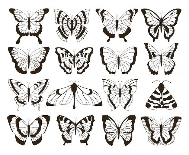 モノクロの蝶。黒と白の描画、手描きの入れ墨の形のビンテージコレクション。蝶分離セット Premiumベクター