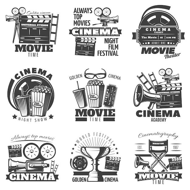 Emblemi del cinema monocromatico Vettore gratuito