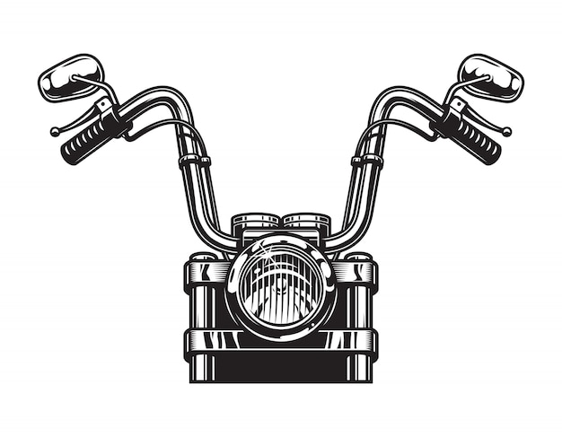 Monochrome classic motorcycle front view concept Free Vector