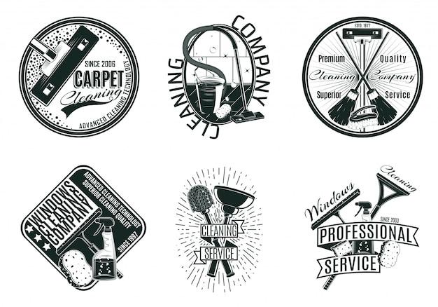 Монохромный набор логотипов клининговой компании Бесплатные векторы