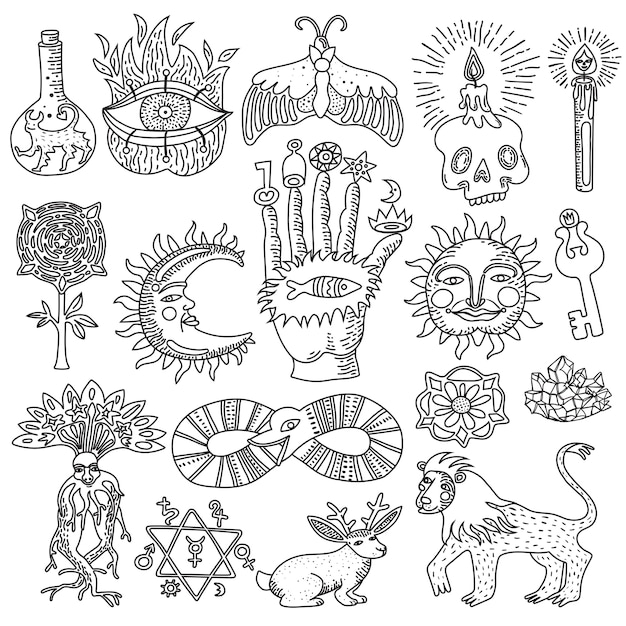 Monochrome doodle set of trendy magic tattoo designs isolated on white background Free Vector