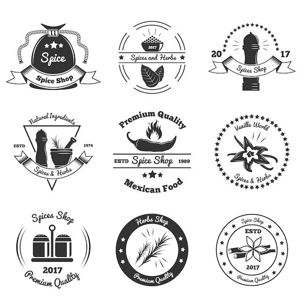 Монохромные эмблемы магазинов со специями и травами, кулинарная утварь, элементы дизайна изолированы Бесплатные векторы