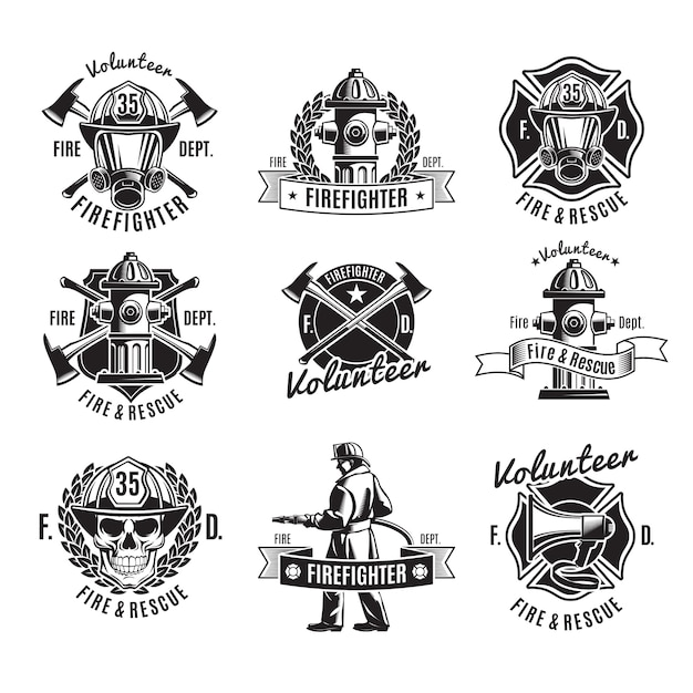 Monochrome firefighting labels set with fireman skull rescue tools Premium Vector