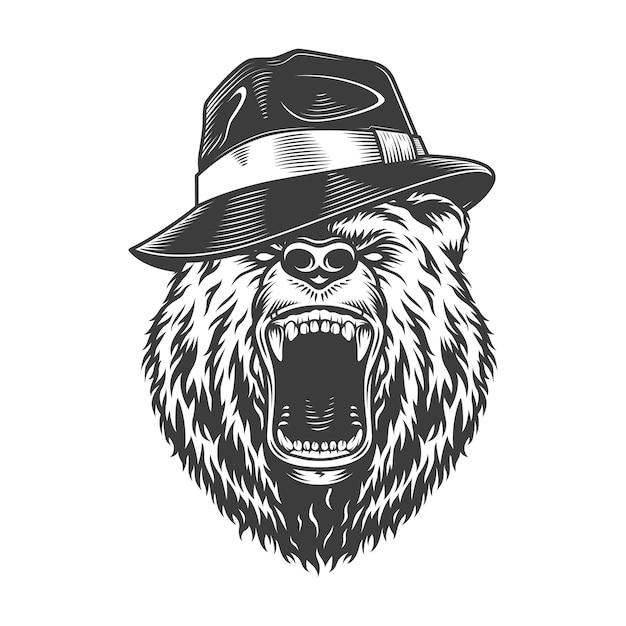 Монохромный гангстер медведь голова в шляпе Бесплатные векторы