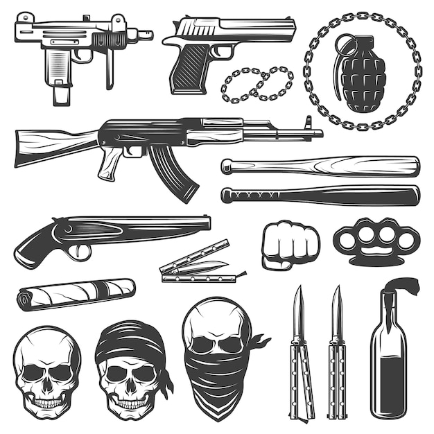 Набор монохромных гангстерских элементов Бесплатные векторы