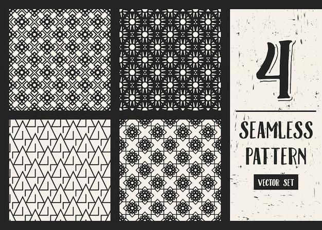 Monochrome geometric pattern background set. Premium Vector